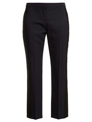 Alexander Mcqueen Side Striped Wool Cropped Trousers Navy