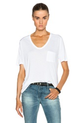 T By Alexander Wang Classic Viscose Tee With Pocket In White