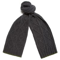Universal Works Charcoal Grey Soft Wool Cable Scarf