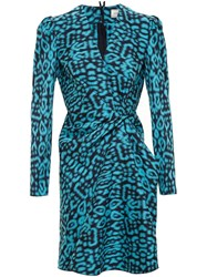 Lanvin Draped Leopard Print Dress Blue