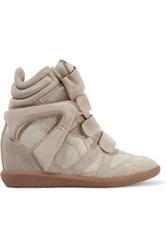 Isabel Marant Bekett Leather Paneled Suede Wedge Sneakers Ecru