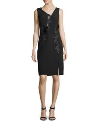 Versace Sleeveless Bead Embroidered Cocktail Dress Black