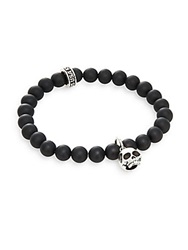 King Baby Studio Black Onyx And Sterling Silver Beaded Skull Charm Bracelet