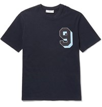 Ami Alexandre Mattiussi Appliqued Cotton Jersey T Shirt Navy