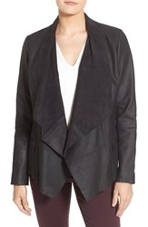 Bernardo Petite Women's Drape Front Leather Jacket