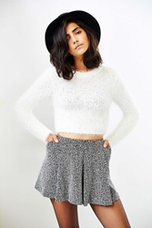 Minkpink Freckles Fuzzy Cropped Sweater White