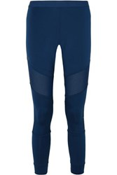 Adidas By Stella Mccartney Parley For The Oceans Essentials Mesh Paneled Climalite Leggings Blue