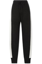 Madeleine Thompson Tic Toc Cable Knit Cashmere Track Pants Black