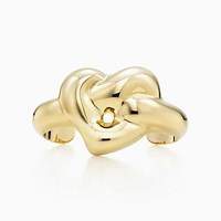 Tiffany And Co. Elsa Peretti Knotted Heart Cuff In 18K Gold Medium. 18K Yellow Gold