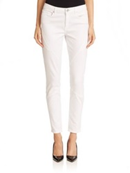 Elie Tahari Azella Pintuck Detail Skinny Jeans Optic White