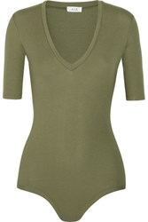 Alix Bedford Ribbed Stretch Jersey Bodysuit Army Green