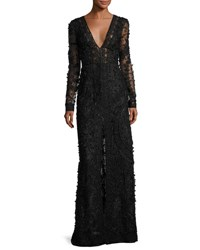 Oscar De La Renta Beaded Long Sleeve V Neck Gown Black