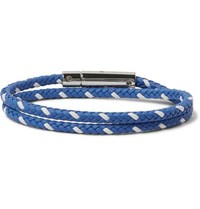 Tod's Woven Leather And Silver Tone Wrap Bracelet Blue