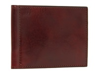 Bosca Old Leather Collection Small Bifold Wallet W Money Clip Cognac Leather Bi Fold Wallet Brown