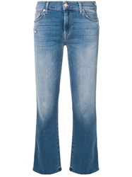 7 For All Mankind Cropped Bootcut Jeans Blue