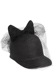 Federica Moretti Bow And Veil Panama Straw Baseball Hat