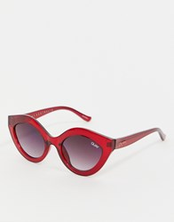 Quay Australia Goodnight Kiss Cat Eye Sunglasses In Red