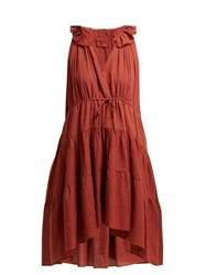 Loup Charmant Patmos Tiered Cotton Dress Red