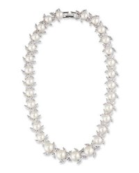 Fallon Monarch Crystal And Pearly Bead Choker Necklace