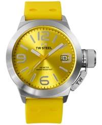 Tw Steel Unisex Canteen Yellow Silicone Strap Watch 45Mm Tw520