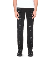 Mcq By Alexander Mcqueen Distressed Skinny Fit Mid Rise Jeans Darkest Black