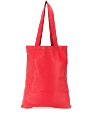 Rick Owens Contrast Logo Tote Red