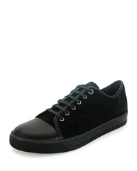 Lanvin Men's Cap Toe Leather Low Top Sneaker Black