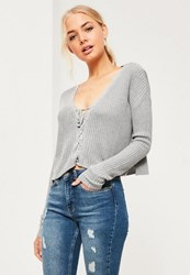 Missguided Grey Slouchy Knitted Cropped Lace Up Jumper