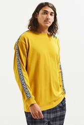 Urban Outfitters Uo Jacquard Taped Long Sleeve Tee Yellow