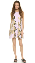 Cynthia Rowley Bonded Racer A Line Dress Gold Branch