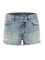 Levi's 501 Frayed And Distressed Short In Waveline Denim Light Wash