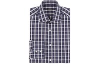 Fairfax Men's Plaid Slub Weave Cotton Linen Dress Shirt Navy