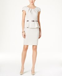 Connected Petite Peplum And Belted Dress Taupe