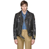 Schott Black Hand Painted Leather Fitted Motorcycle Jacket