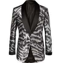 Tom Ford Aticus Satin Trimmed Jacquard Tuxedo Jacket Silver