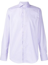 Canali Woven Long Sleeved Shirt Purple