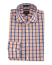 Neiman Marcus Trim Fit Regular Finish Plaid Dress Shirt Orange