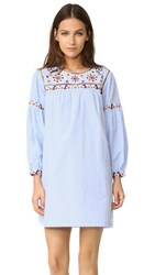 English Factory Embroidery Detail Dress Oxford Blue