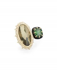 Alexis Bittar Pyrite And Emerald Cubic Zirconia Cocktail Ring Green