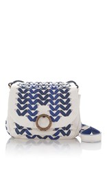 Agnona Mini Babe Woven Cross Body Blue