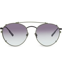 Kris Van Assche Kva71 Unique Circular Combination Aviator Sunglasses Black And Green