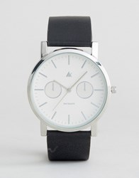 Asos Watch With Black Leather Strap And White Face Black