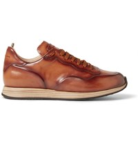 Officine Creative Keino Polished Leather Sneakers Brown