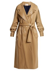 Wanda Nylon Oversized Coated Trench Coat Beige