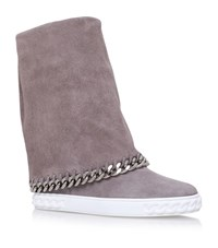 Casadei Chaucer Chain Trim Suede Wedge Boots Female Grey
