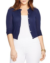 Lauren Ralph Lauren Plus Cropped Knitted Cardigan Authentic Navy