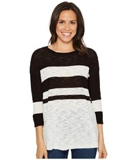 Vince Camuto Lightweight Uneven Stripe Scoop Neck Slub Pullover Rich Black Women's Long Sleeve Pullover