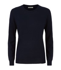 Burberry Merino Wool Elbow Patch Sweater Female Navy
