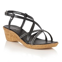 Lotus Merida Strappy Wedge Sandals Black