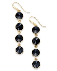 Charter Club Bezel Set Crystal Linear Earrings Only At Macy's Jet Gold